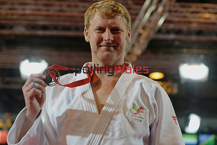 Wales Mark Shaw celebrates winning Bronze<br /> <br /> Photographer Ian Cook/Sportingwales<br /> <br /> 20th Commonwealth Games - Judo -  Day 3 - Saturday 26th July 2014 - Glasgow - UK
