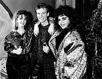Les VJ de Musique Plus,: Sonia Vachon (L), Marc Carpentier (M) and Sonia Benezra (R).<br /> le 17 descembre 1986<br /> <br /> Photo : Agence Quebec Presse - Pierre Roussel