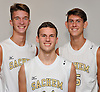Sean Hannett of Sachem North, center, poses for a portrait with teammates Alec Lehnert, left, and Connor Pallmann during Newsday's 2016 varsity boys volleyball season preview photo shoot at company headquarters on Tuesday, Sept. 6, 2016.