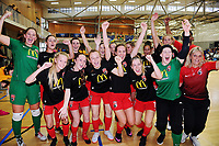 The Pride celebrate winning the 2019 Women's Futsal SuperLeague tournament final between Canterbury United Pride and Capital Futsal at ASB Sports Centre in Wellington, New Zealand on Sunday, 17 February 2019. Photo: Dave Lintott / lintottphoto.co.nz
