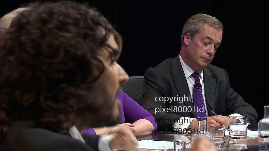 BBC Question Time:<br /> Russell Brand goes for Nigel Farage<br /> <br /> <br /> <br /> <br /> Pic supplied by Pixel 8000 Ltd