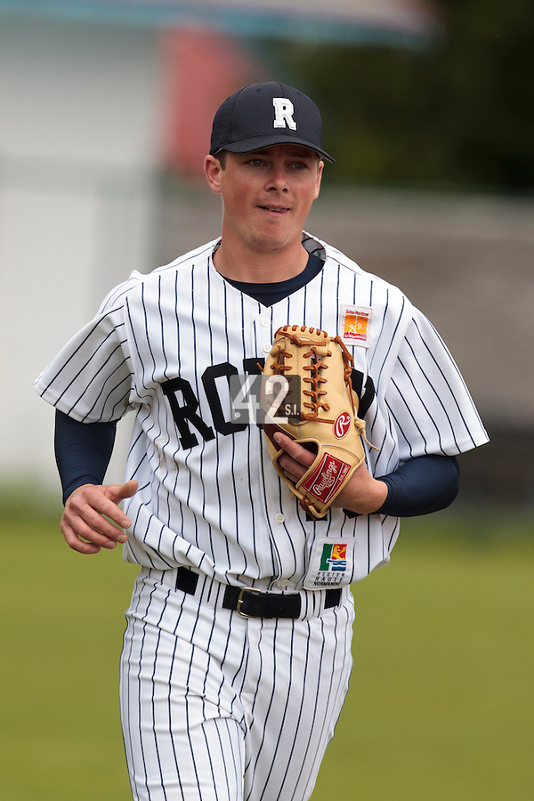 03 June 2010: Anthony Piquet of Rouen is seen during the 2010 Baseball European Cup match won  8-4 by C.B. Sant Boi over the Rouen Huskies, at the Kravi Hora ballpark, in Brno, Czech Republic.