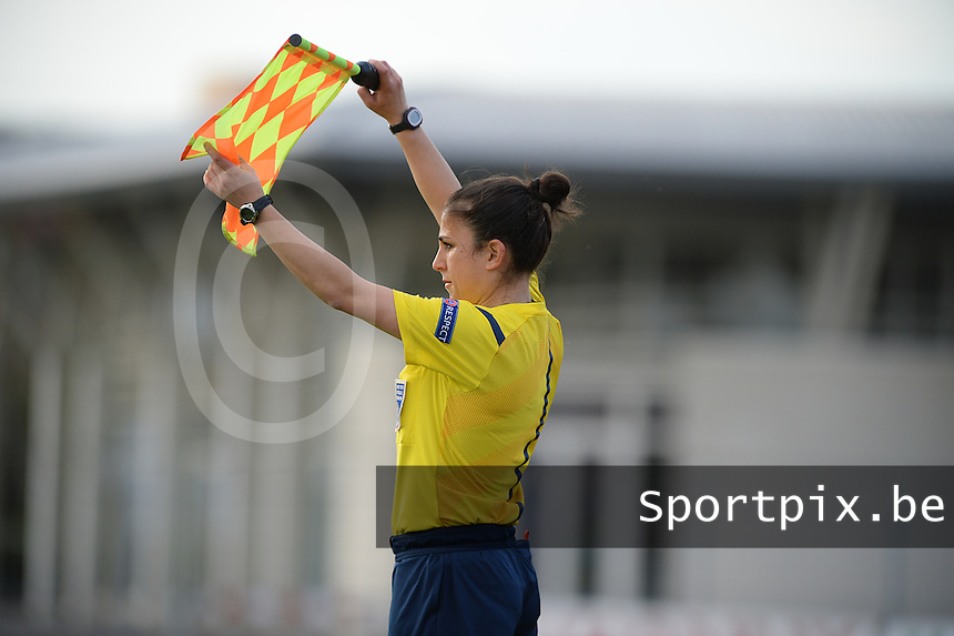 20150406 - MELUN , FRANCE  : French Assistant referee Aurelie Efe pictured during the soccer match between Women Under 19 teams of Iceland and Russia , on the second matchday in group 3 of the UEFA Elite Round Women Under 19 at Stade Municipal , Melun , France . Monday 6th April 2015 . PHOTO DAVID CATRY