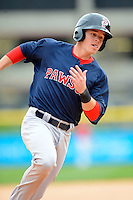 Pawtucket Red Sox shortstop Brock Holt #3 during the second game of a doubleheader against the Buffalo Bisons on April 25, 2013 at Coca-Cola Field in Buffalo, New York.  Buffalo defeated Pawtucket 4-0.  (Mike Janes/Four Seam Images)