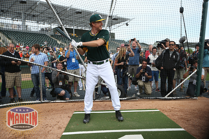 MESA, AZ - MARCH 12:  Actor Will Ferrell of the Oakland Athletics takes batting practice before a spring training game against the Seattle Mariners at HoHoKam Stadium on March 12, 2015 in Mesa, Arizona. (Photo by Brad Mangin)