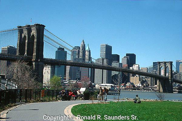 BROOKLYN BRIDGE FROM PARK IN BROOKLYN WITH MANHATTAN SKYLINE