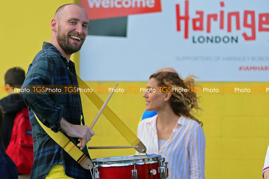 Haringey FC drummer is seen after opening day victory during Haringey Borough vs Corinthian Casuals, BetVictor League Premier Division Football at Coles Park Stadium on 10th August 2019