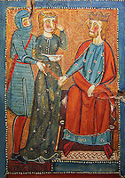 Gothic painted wood panels with scenes of the Martyrdom of Saint Lucy<br /> Circa 1300. Tempera on wood. Date Circa 1300. From the parish church of Santa Ll&uacute;cia de Mur (Gu&agrave;rdia de Noguera, Pallars Juss&agrave;). National Museum of Catalan Art, Barcelona, Spain, inv no: 035703-CJT