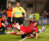 29th September 2017, RDS Arena, Dublin, Ireland; Guinness Pro14 Rugby, Leinster Rugby versus Edinburgh; Tom Brown of Edinburgh kick the ball in place despite Dave Kearney of Leinster efforts