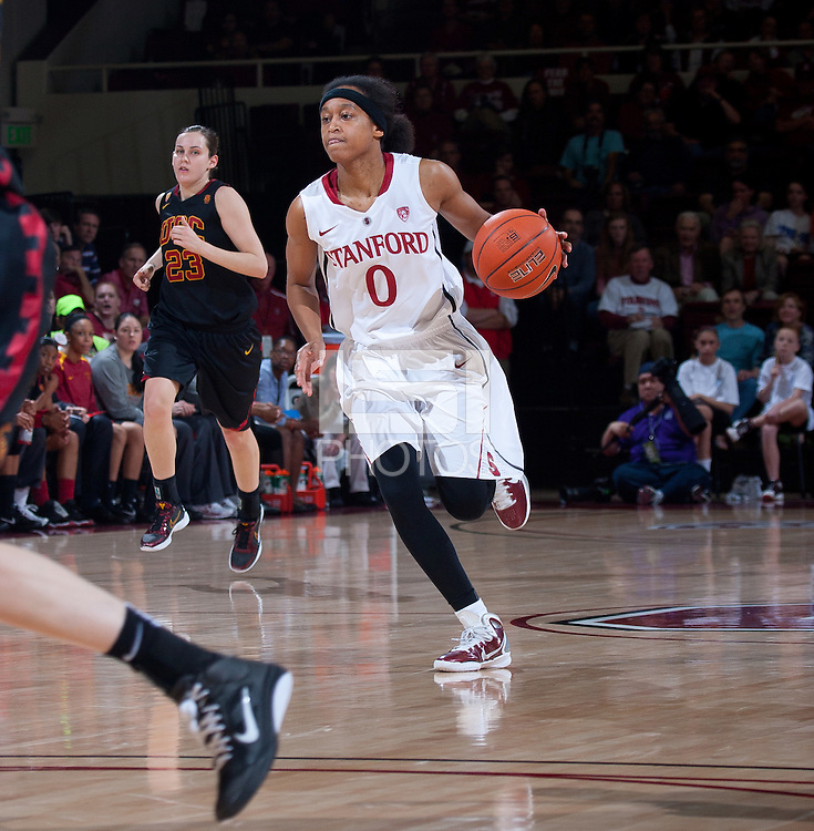 STANFORD, CA - January 22, 2011: Melanie Murphy of the Stanford women's basketball team during their game against USC at Maples Pavilion. Stanford beat USC 95-51.