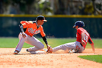 Baltimore Orioles infielder Jonathan Schoop (37) attempts to tag a sliding Derrick Gibson (15) during a minor league Spring Training game against the Boston Red Sox at Buck O'Neil Complex on March 25, 2013 in Sarasota, Florida.  (Mike Janes/Four Seam Images)
