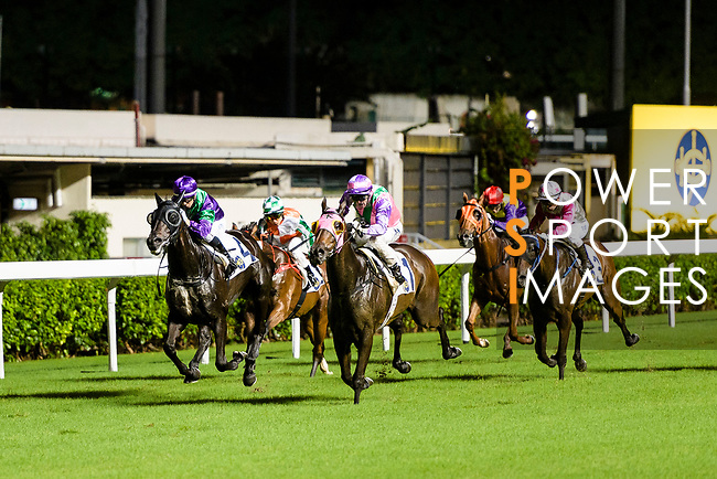 #1 Jockey Zac Purton (C) riding Aeroluminance during the Hong Kong Racing at Happy Valley Race Course on June 13, 2018 in Hong Kong, Hong Kong. Photo by Marcio Rodrigo Machado / Power Sport Images