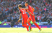June 10th 2017, Hampden park, Glasgow, Scotland; World Cup 2018 Qualifying football, Scotland versus England; Alex Oxlade-Chamberlain celebrates his goal with Jake Livermore as he scores in the 70th minute for 0-1
