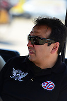 Sept. 22, 2012; Ennis, TX, USA: NHRA funny car driver Tony Pedregon during qualifying for the Fall Nationals at the Texas Motorplex. Mandatory Credit: Mark J. Rebilas-US PRESSWIRE