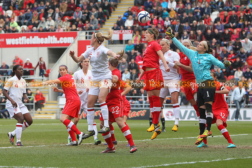 England go close to an early goal - England Women vs Canada Women - International Football Friendly Match at the New York Stadium, Rotherham United FC - 07/04/13 - MANDATORY CREDIT: Gavin Ellis/TGSPHOTO - Self billing applies where appropriate - 0845 094 6026 - contact@tgsphoto.co.uk - NO UNPAID USE.