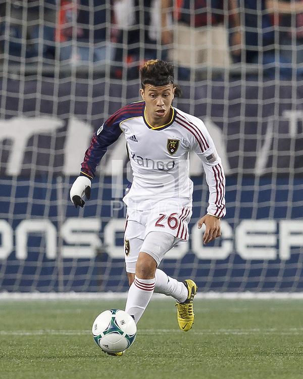 Real Salt Lake substitute midfielder Sebastian Velasquez (26) brings the ball forward.