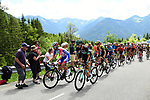 The breakaway group in action during Stage 8 of the Criterium du Dauphine 2019, running 113.5km from Cluses to Champery, Switzerland. 16th June 2019.<br /> Picture: ASO/Alex Broadway | Cyclefile<br /> All photos usage must carry mandatory copyright credit (© Cyclefile | ASO/Alex Broadway)