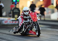 Mar. 30, 2012; Las Vegas, NV, USA: NHRA top Harley rider Chuck Bahnmaier during qualifying for the Summitracing.com Nationals at The Strip in Las Vegas. Mandatory Credit: Mark J. Rebilas-