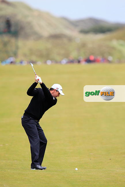 Padraig HARRINGTON (IRL) plays his 2nd shot on the 1st hole during Saturday's Round 3 of the 2015 Dubai Duty Free Irish Open, Royal County Down Golf Club, Newcastle Co Down, Northern Ireland 5/30/2015<br /> Picture Eoin Clarke, www.golffile.ie