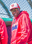25 February 2016: Washington Nationals Manager Dusty Baker watches batting practice during the first full squad Spring Training workout at Space Coast Stadium in Viera, Florida. Mandatory Credit: Ed Wolfstein Photo *** RAW (NEF) Image File Available ***