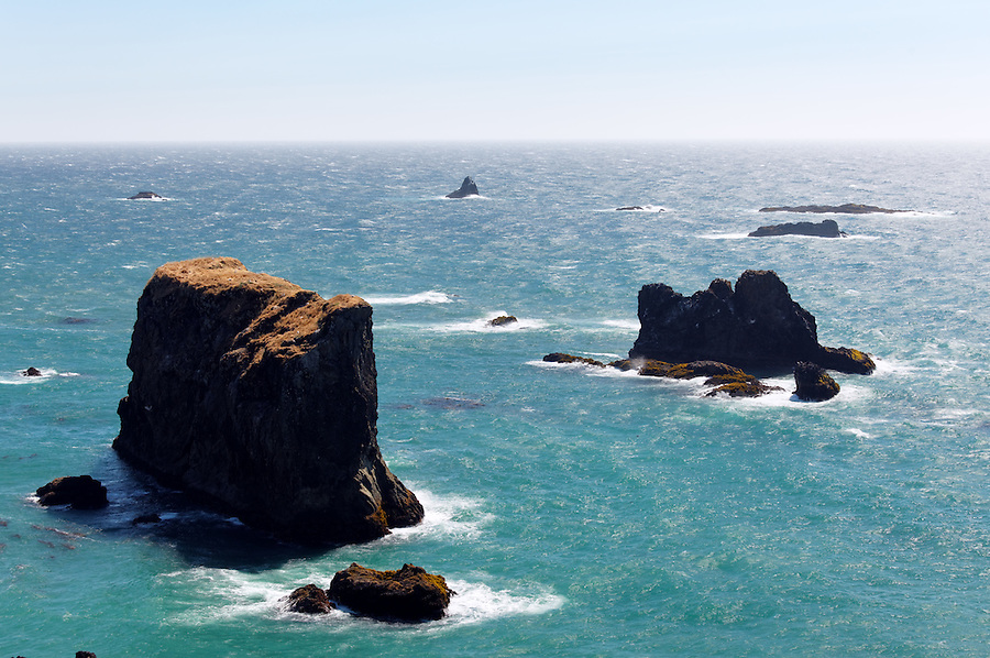 Offshore sea stacks, Samuel H. Boardman State Scenic Corridor, Oregon Coast, Oregon, USA, North America
