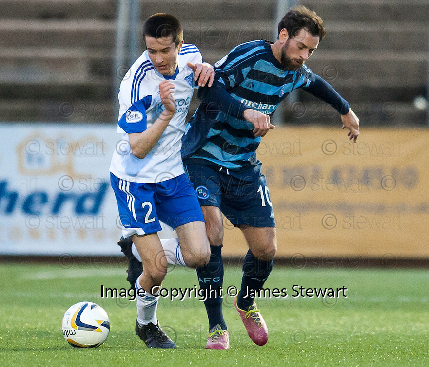Peterhead's Cameron Kerr and Forfar's Gavin Swankie challenge for the ball.