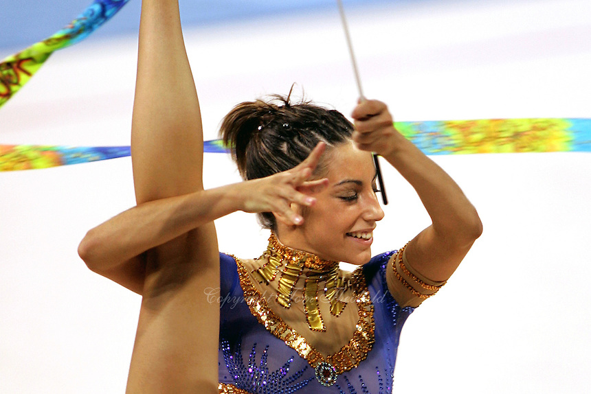 August 29, 2004; Athens, Greece; Rhythmic gymnastics star ALMUDENA CID of Spain performs with ribbon in All-Around competition at 2004 Athens Olympics.<br /> Copyright 2004 Tom Theobald