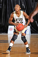 25 November 2011:  FIU guard Jerica Coley (22) looks to pass the ball in the second half as the University of Maryland Terrapins defeated the FIU Golden Panthers, 84-52, at the U.S. Century Bank Arena in Miami, Florida.