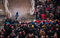 "Mathieu van der Poel (NED/Corendon-Circus) demonstrating his dominance once again in the infamous ""Pit"" aka ""De Kuil""<br /> <br /> Superprestige Zonhoven (BEL) 2018"