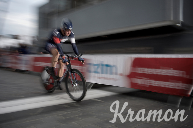 Roger Kluge (DEU/IAM) crossing the finish line in the fastest time of all competitors and thus becoming the first overall race leader<br /> <br /> stage 1: prologue<br /> Ster ZLM Tour 2015
