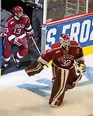 Nathan Krusko (Harvard - 13), Cameron Gornet (Harvard - 32) - The University of Minnesota Duluth Bulldogs defeated the Harvard University Crimson 2-1 in their Frozen Four semi-final on April 6, 2017, at the United Center in Chicago, Illinois.