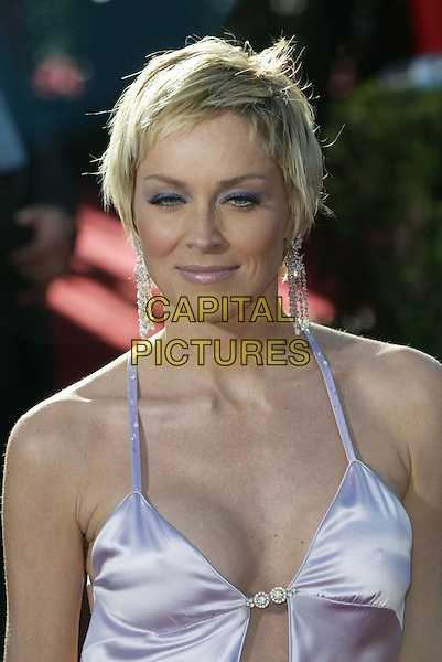 SHARON STONE.At the 56th Annual Prime Time Emmy Awards held the Shrine Auditorium, Los Angeles, CA, USA, .19th September, 2004..portrait headshot purple eyeshadow lilac satin dress.Ref: ADM.www.capitalpictures.com.sales@capitalpictures.com.©Charles Harris/AdMedia/Capital Pictures .