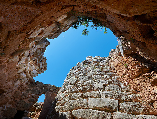 Pictures and image of the interior of the Nuraghe tower of Palmavera prehistoric  Nuraghe tower archaeological site, middle Bronze age (1500 BC), Alghero, Sardinia.