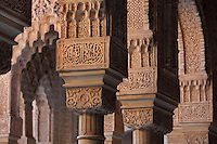 Slender columns with cubic capitals and arches above, carved with floral decoration and Arabic inscriptions, in the Court of the Lions, built 1362 in the second reign of Muhammad V, in the Nasrid dynasty Palace of the Lions, Alhambra Palace, Granada, Andalusia, Southern Spain. The design of the courtyard reflects the Nasrid view of Paradise, with these columns representing palm trees around a desert oasis. The Alhambra was begun in the 11th century as a castle, and in the 13th and 14th centuries served as the royal palace of the Nasrid sultans. The huge complex contains the Alcazaba, Nasrid palaces, gardens and Generalife. Granada was listed as a UNESCO World Heritage Site in 1984. Picture by Manuel Cohen