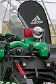 Jun. 19, 2010 - Tokyo, Japan - To liven up the 2010 FIFA World Cup, a demonstration of the Castrol Ichi-Go with Adidas' PREDATOR X shoe installed in the foot of the machine, takes place at Samurai Blue Park. The 'Castrol Ichi-Go' is the world's first engine-driven fastest kicking machine with super human power. Equipped with a steel leg, this kicking machine is capable of delivering a free in excess of 200 km/h per hour..