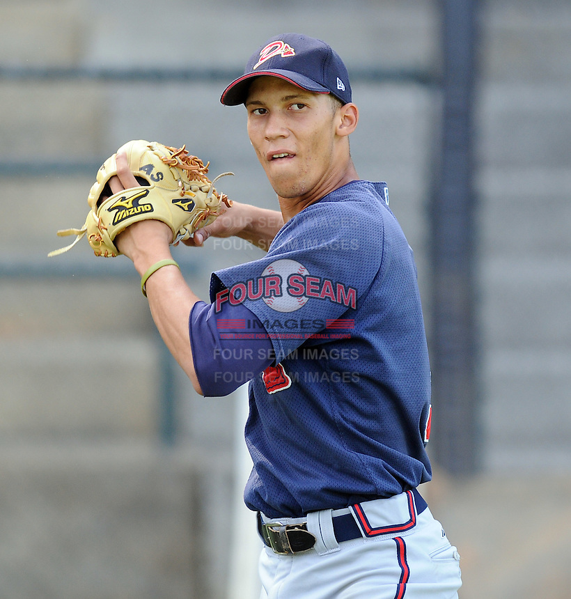 Infielder Andrelton Simmons (5) of the Danville Braves prior to a game against the Pulaski Mariners on July 19, 2010, at Calfee Park in Pulaski, Va. Simmons is the Atlanta Braves' 2nd round pick in the 2010 Draft. Photo by: Tom Priddy/Four Seam Images