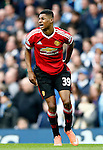 Marcus Rashford of Manchester United in pain with cramp during the Barclays Premier League match at The Etihad Stadium. Photo credit should read: Simon Bellis/Sportimage