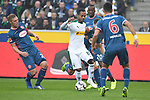 04.11.2018, Borussia Park , Moenchengladbach, GER, 1. FBL,  Borussia Moenchengladbach vs. Fortuna Duesseldorf,<br />  <br /> DFL regulations prohibit any use of photographs as image sequences and/or quasi-video<br /> <br /> im Bild / picture shows: <br /> Raffael (Gladbach #11),  im Zweikampf gegen  Alfredo Morales (Fortuna Duesseldorf #6),   <br /> <br /> Foto &copy; nordphoto / Meuter