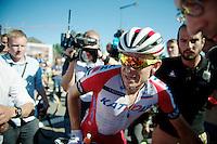 stage winner Alexander Kristoff (NOR/Katusha) straight after the finish line<br /> <br /> 2014 Tour de France<br /> stage 12: Bourg-en-Bresse - Saint-Eti&egrave;nne (185km)