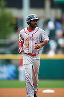 Syracuse Chiefs left fielder Brian Goodwin (15) during a game against the Buffalo Bisons on July 31, 2016 at Coca-Cola Field in Buffalo, New York.  Buffalo defeated Syracuse 6-5.  (Mike Janes/Four Seam Images)