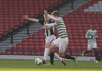 Allan Smith (left) and Stuart Findlay tackling in the Dunfermline Athletic v Celtic Scottish Football Association Youth Cup Final match played at Hampden Park, Glasgow on 1.5.13. ..