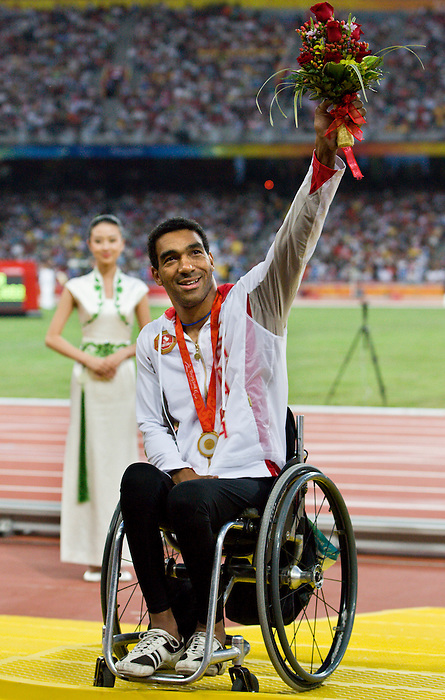 Dean Bergeron  won the gold in the men 200 m t52 final.<br /> - Photo Benoit Pelosse-CPC