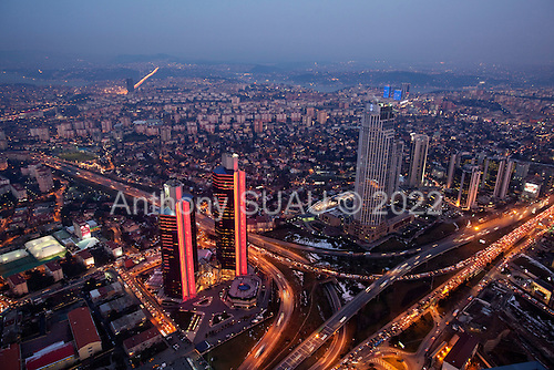 Istanbul, Turkey<br /> March 11, 2011<br /> <br /> A view of Istanbul's Levent business district from the a top the Istanbul Sapphire. The building is a skyscraper, and tallest building in Istanbul and Turkey. It is the country's first ecological skyscraper. Sapphire rises 54 floors above ground level having an above-ground roof height of 238 meters (and a structural height of 261 meters. It is a shopping and luxury residence mixed-use project by Biskon Construction.