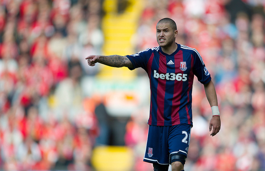 Stoke City's Michael Kightly ..Football - Barclays Premiership - Liverpool v Stoke City - Sunday 7th October 2012 - Anfield - Liverpool..