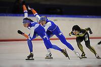 SCHAATSEN: HEERENVEEN: IJsstadion Thialf, 05-02-15, Training World Cup, Margot Boer, Karolina Erbanova (CZE), Nao Kodaira (JPN), ©foto Martin de Jong