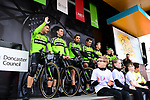 Euskadi Basque Country-Murias team introduced on stage before the start of Stage 1 of the 2019 Tour de Yorkshire, running 178.5km from Doncaster to Selby, Yorkshire, England. 2nd May 2019.<br /> Picture: ASO/SWPix | Cyclefile<br /> <br /> All photos usage must carry mandatory copyright credit (&copy; Cyclefile | ASO/SWPix)