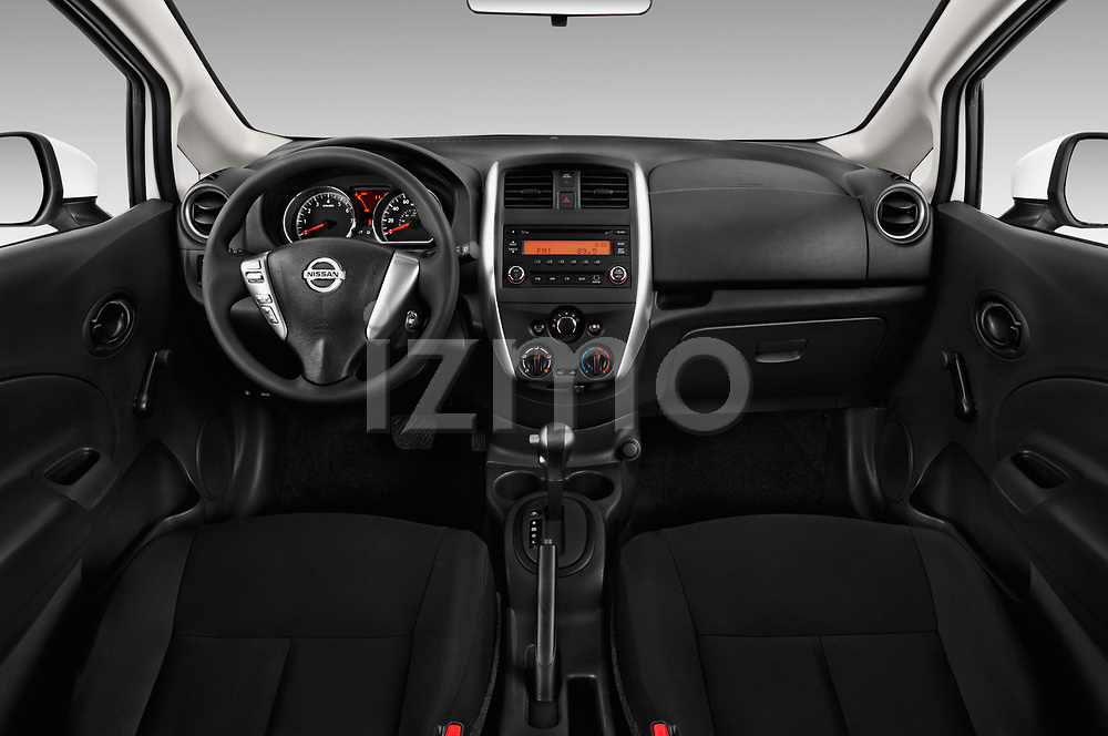 Stock photo of straight dashboard view of a 2018 Nissan Versa Note S 5 Door Hatchback