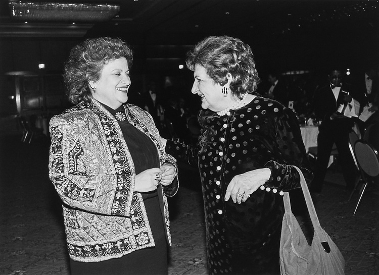 Rep. Mary Rose Oakar, D-Ohio, with Helen Thomas, United Press International reporter, at an event sponsored by Washington Press Corps Club on Feb. 3, 1992. (Photo by Laura Patterson/CQ Roll Call)