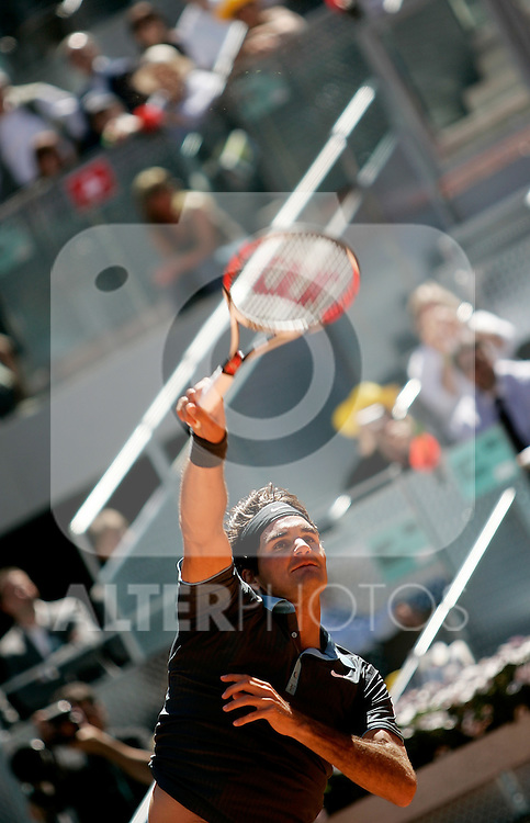 Switzerland's Roger Federer during his Madrid Open quarter final match. May 15, 2009. (ALTERPHOTOS/Alvaro Hernandez)