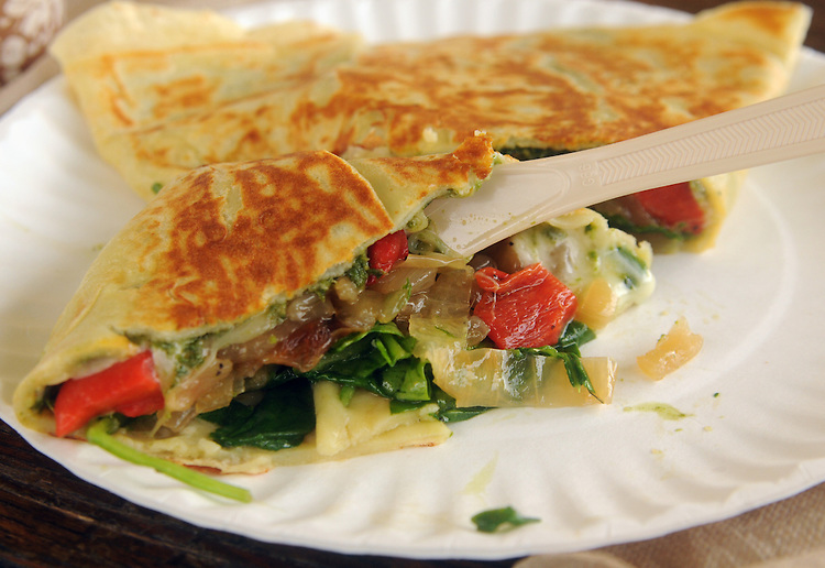Close up of one of the exotic Crepes at the Skinny Pancake Concession, at the Falcon Ridge Folk Festival, held on Dodd's Farm in Hillsdale, NY on Saturday, August 1, 2015. Photo by Jim Peppler. Copyright Jim Peppler 2015.